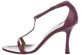 Manolo Blahnik Leather T-Strap Sandals
