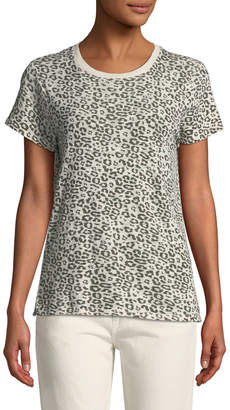 ATM Anthony Thomas Melillo Crewneck Short-Sleeve Leopard-Print Slub Tee