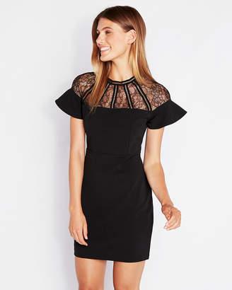 Express Lace Inset Ruffle Sheath Dress