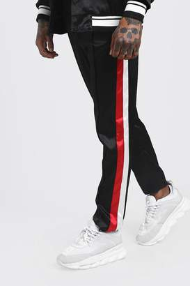 boohoo Skinny Fit Side Stripe Satin Jogger