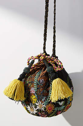 Anthropologie Wildflowers Embroidered Bucket Bag