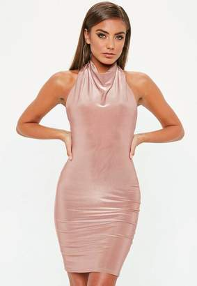 Missguided Nude High Neck Cowl Bodycon Dress