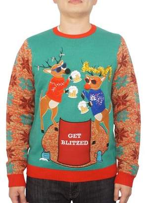 Holiday Men's Get Blitzed Reindeer Pocket Ugly Christmas Sweater, Up to size 2XL