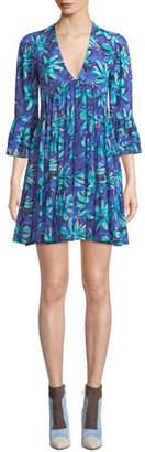 Michael Kors Daisy Print Georgette Mini Dress