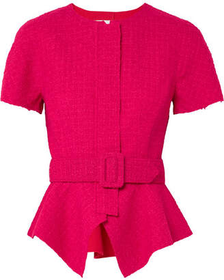 Oscar de la Renta Belted Wool-blend Tweed Peplum Jacket - Bright pink