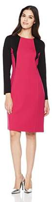 Savoir Faire Dresses Women's Long Sleeve Color Block Fitted Dress with Princess Seam 4