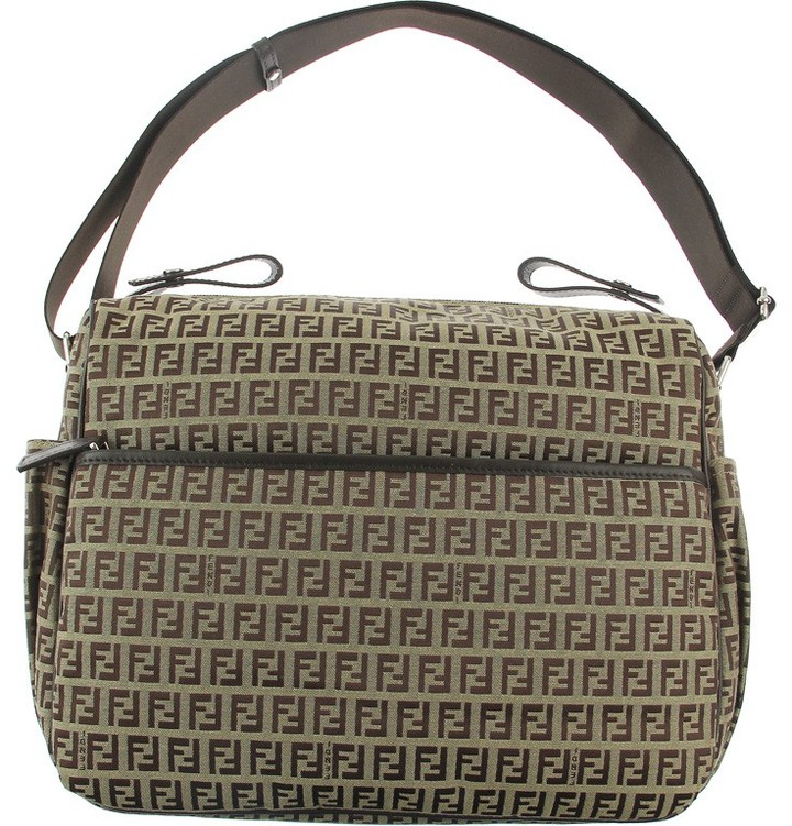 Fendi Brown Zucca Logo Baby Changing Bag with Mat