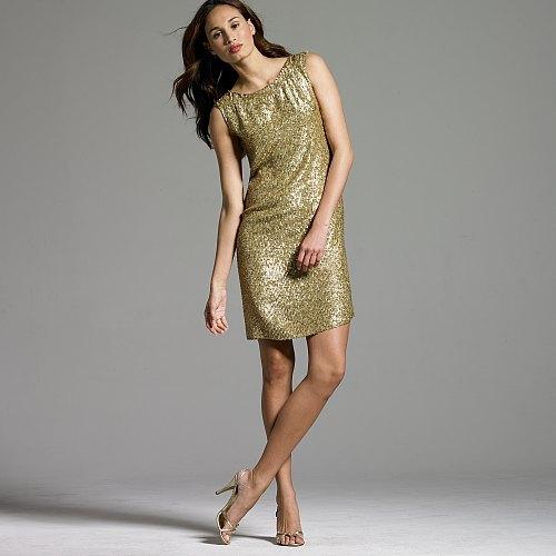 Antiqued-gold sequin dress