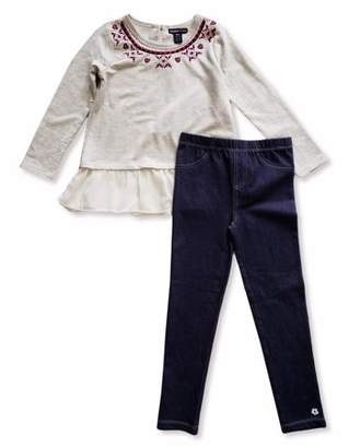 Limited Too Aztec Embroidered Long Sleeve Peplum Top & Knit Denim Jeans, 2-Piece Outfit Set (Little Girls)