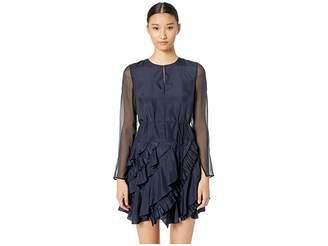 Jason Wu GREY Silk Crew Long Sleeve Ruffle Dress