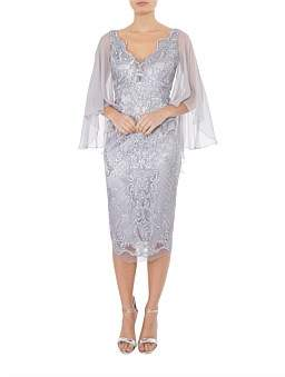 Anthea Crawford Silver Sequin Mesh Dress