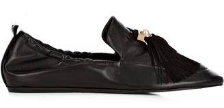 LANVIN Pearl-embellished tassel ballet flats $713 thestylecure.com