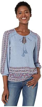 Lucky Brand Placed Printed Peasant Top