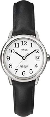Timex Women T2H331 Quartz Easy Reader Date Watch with White Dial Analogue Display and Black Leather Strap