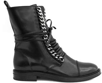 Casadei City Rock Ankle Boot In Black Leather.