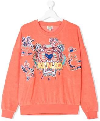 Kenzo TEEN logo embroidered towelling sweatshirt