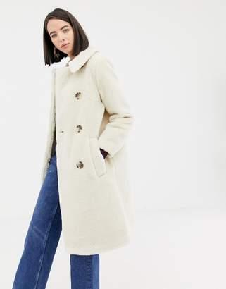 Warehouse longline teddy coat in cream