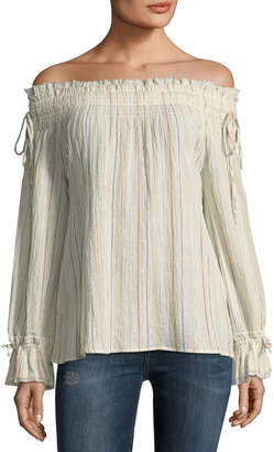 Love Sam Off-the-Shoulder Striped Blouse $99 thestylecure.com