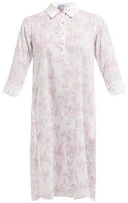 Thierry Colson Floral Print Cotton Cover Up - Womens - Pink Multi
