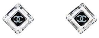 Chanel CC Crystal Square Clip-On Earrings