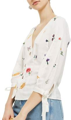 Topshop Field Embroidered Floral Blouse