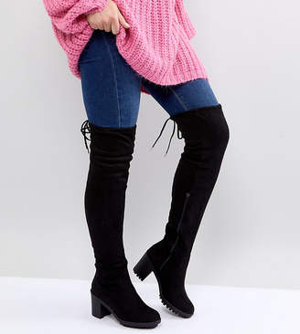 New Look Wide Fit Chunky Cleated Sole Over The Knee Heeled Boot