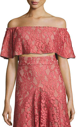 Alexis Taza Off-the-Shoulder Lace Crop Top