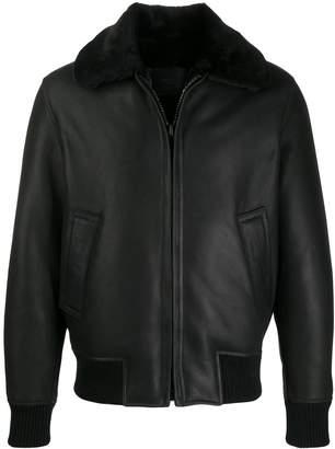 Sandro Paris zipped contrasting-collar jacket