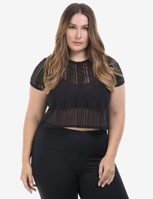 77b432f0d Lola Getts Cropped Mesh Tee Shirt Top in Black Size 0 Polyester
