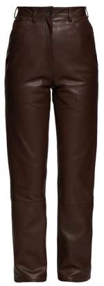 The Row Charlee High Rise Leather Trousers - Womens - Brown