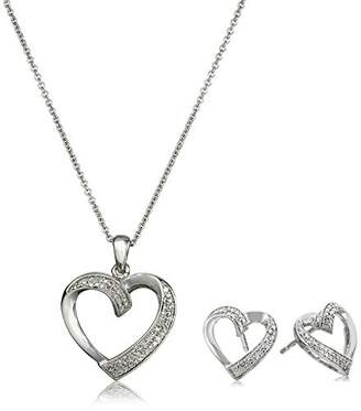 Sterling Silver with Diamond-Accent Heart-Shape Box Jewelry Set