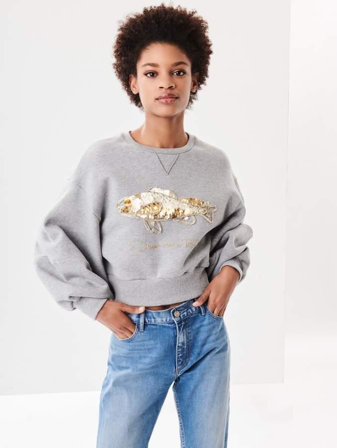 Oscar de la Renta Embroidered Cotton Terrycloth Cropped Sweatshirt