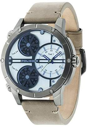 Police Men's Quartz Watch with Beige Dial Analogue Display and Beige Leather Strap 14699JSU/07