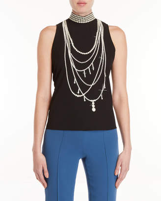 Moschino Pearl Necklace Sleeveless Top