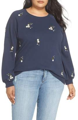 Caslon Embroidered Cotton Sweatshirt (Plus Size)