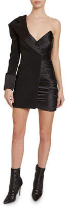 Redemption Asymmetric Half-Blazer Satin Mini Dress