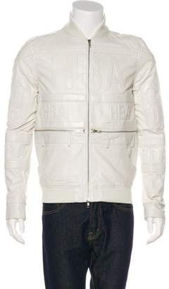 Hood by Air Accented Leather Embossed Logo Jacket