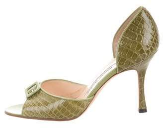 Manolo Blahnik Alligator Buckle-Accented Sandals