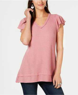 Style&Co. Style & Co Waffle-Knit Flutter-Sleeve Tunic, Created for Macy's
