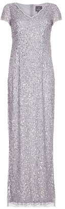 Adrianna Papell Scallop Beaded V-neck Gown