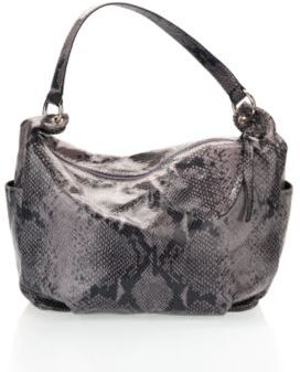 Snake-embossed leather slouchy hobo