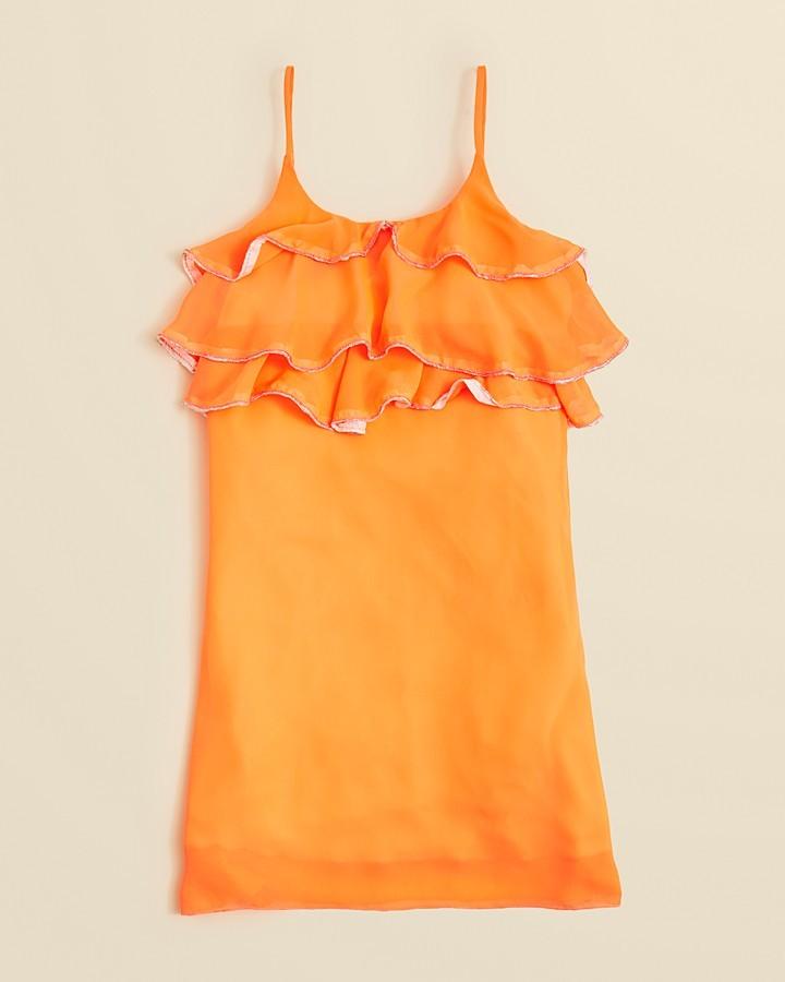 Un Deux Trois Girls' Chiffon Ruffle Front Dress - Sizes 7-16