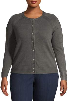 Karen Scott Plus Textured Roundneck Cardigan