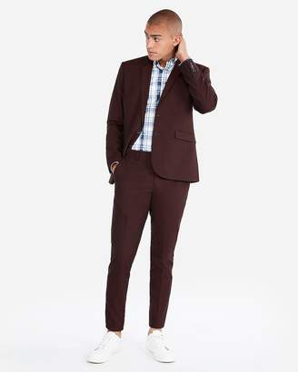 Express Extra Slim Burgundy Cotton Blend Stretch Suit Pant