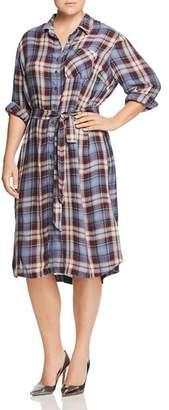 Seven7 Jeans Plus Plaid Shirt Dress