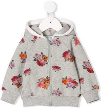 MonnaLisa floral print zipped hoodie