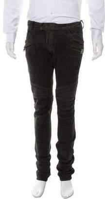 Balmain Suede Moto Pants