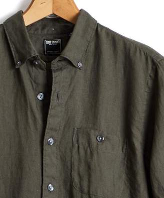 Todd Snyder Slim Fit Linen Button Down Shirt in Olive