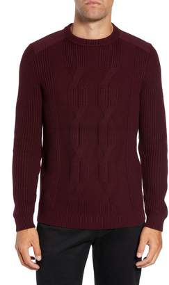 Ted Baker Laichi Trim Fit Cable Crewneck Sweater