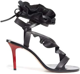 ISABEL MARANT Ansel ruffle-trimmed leather sandals $1,005 thestylecure.com